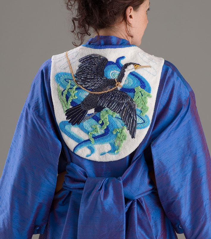 Cormorant (back) 600 hours of work, bead embroidery, enamelled eyes, Stirling silver clasp, and silk kimono. $8500